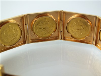 Lot 179-A coin set panel bracelet