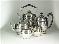 Lot 33-A five piece silver tea service