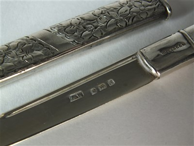 Lot 72-A miniature silver letter opener