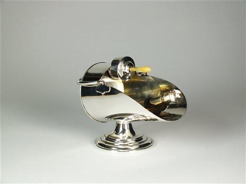 Lot 53-A novelty silver sugar scuttle