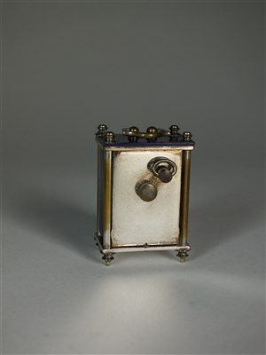 Lot 16-A cased miniature carriage timepiece