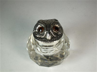 Lot 79 - An Edwardian novelty silver topped inkwell