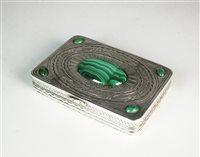 Lot 62 - A silver and malachite box