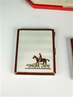 Lot 105-A cased silver and guilloche enamel cigarette case and compact set