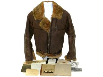 547 - WW2 leather flying jacket, log books and provenance