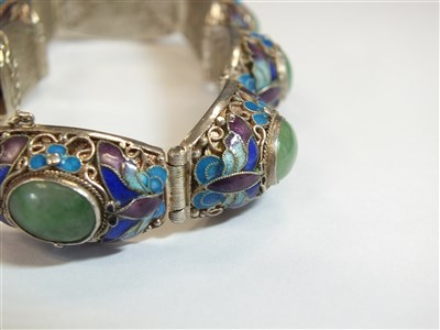 Lot 5-A jade and enamel panel bracelet