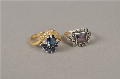 Lot 6-A paste and marcasite ring