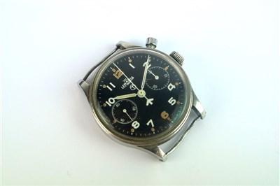 Lot 205-A Gentleman's Lemania Monopusher Military Chronograph Wristwatch