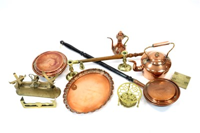 Lot 753-A collection of antique copper and brass wares and a set of domestic kitchen scales