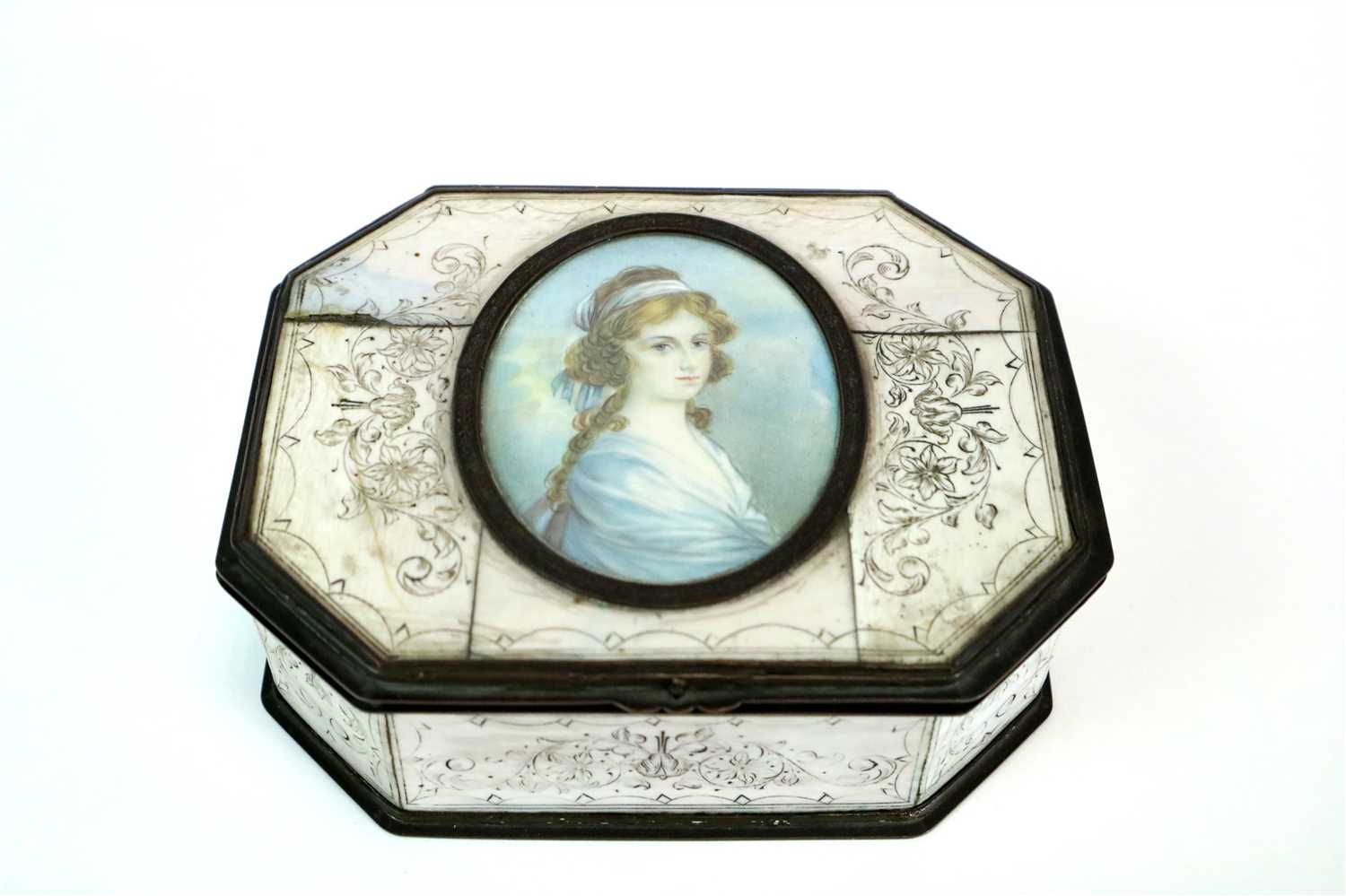Lot 173-Miniature portrait inset ivory and tortoiseshell box