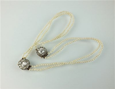Lot 190-A pearl and diamond choker and bracelet suite
