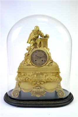 Lot 723-A 19th century gilt cast metal mantle clock