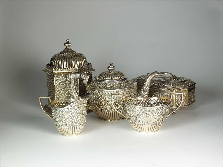 184 - A five piece Indian silver tea service