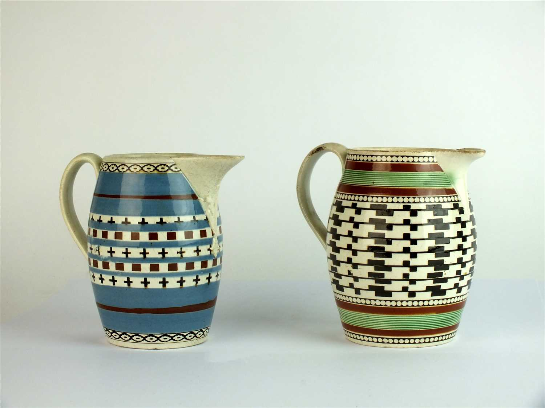 442 - Two Staffordshire mocha ware jugs