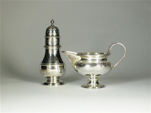 Lot 6-A silver cream jug and sugar caster