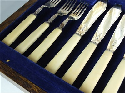 Lot 92-A cased set of silver fish knives and forks