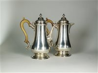 Lot 125-A Queen Anne style silver coffee pot and hot water jug
