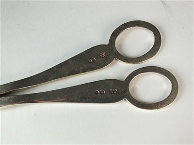 Lot 82-A cased pair of silver grape scissors