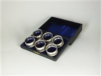 Lot 120-A cased set of six silver napkin rings