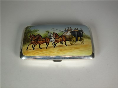Lot 90 - A silver and enamel cigar case