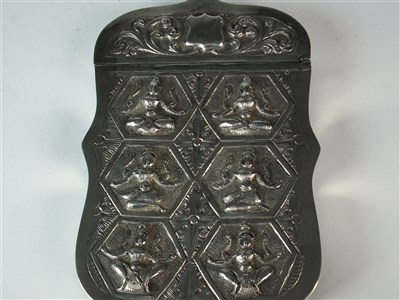 Lot 26 - An Indian white metal card case