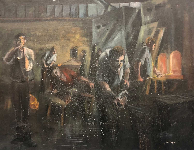 Lot 21 - Edward Morgan , furnace scene