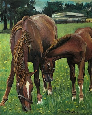 Lot 31-Edward Morgan (B.1933), horse with her foal
