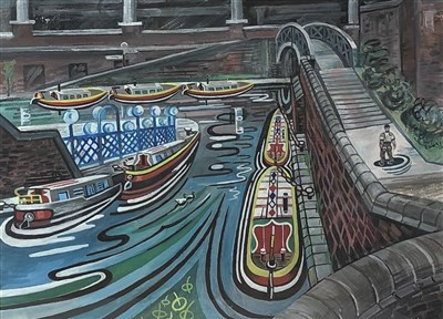Lot 33-Edward Morgan (B.1933), canal basin, Broad Street, Birmingham