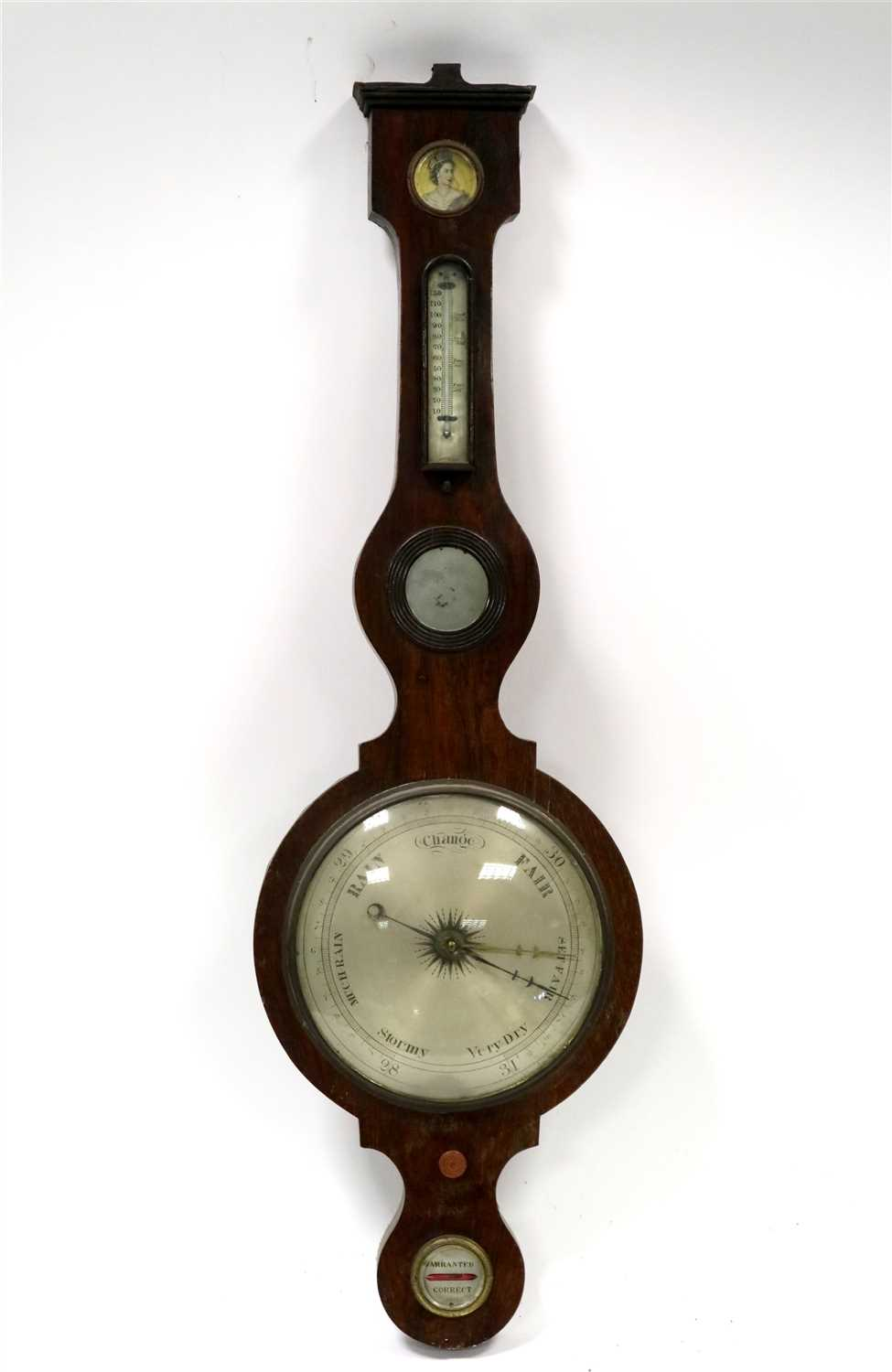 Lot 699-An early Victorian rosewood veneered aneroid banjo wall barometer