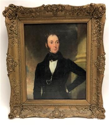 Lot 1-English school, 19th century, portrait of a gentleman