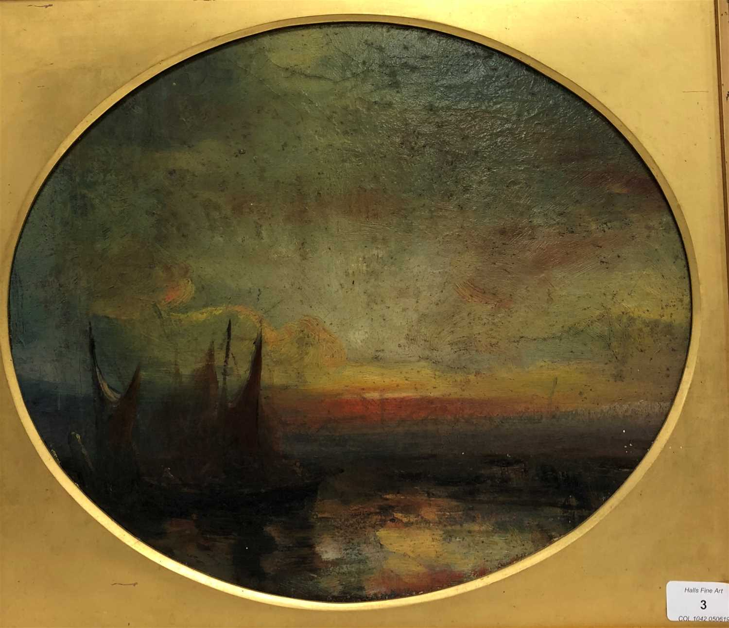 Lot 3-British school, late 19th century, sunset over a harlow
