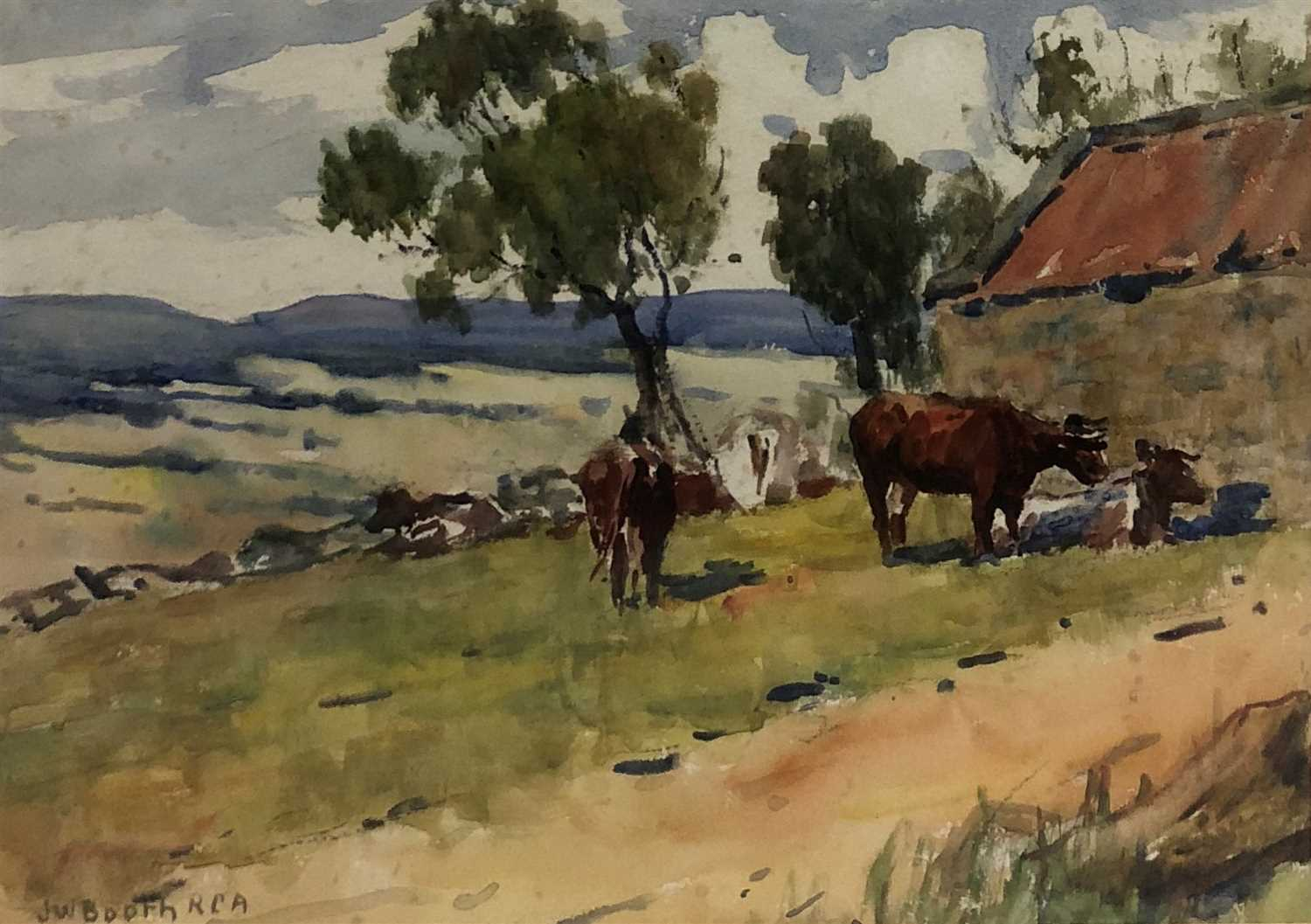 Lot 8-James William Booth, cattle beside a barn