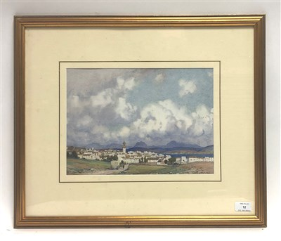 Lot 12-A.M. Doweraker, continental town beside a lake