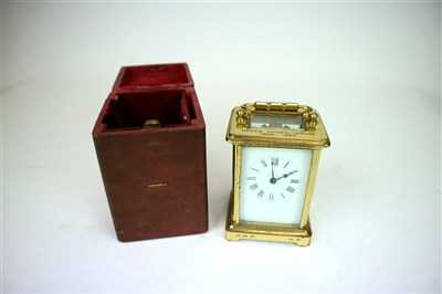 Lot 729-A cased early 20th century French carriage clock with presentation inscription