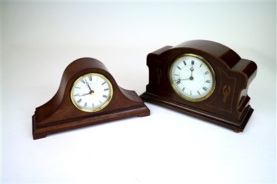 Lot 705-An Edwardian mahogany cased mantle clock and a reproduction mantle clock
