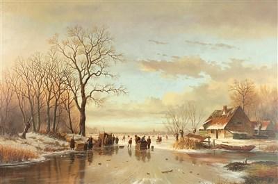 Lot 110-De Vires, frozen canal landscape