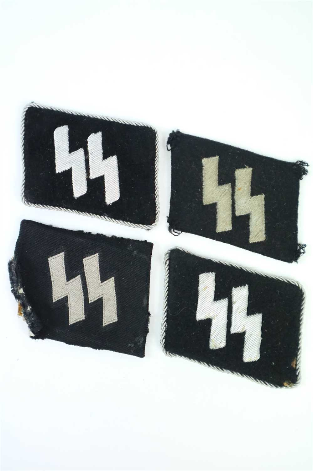 496 - Four German Third Reich Waffen SS 'Runic' collar tabs in wool and cotton (4)