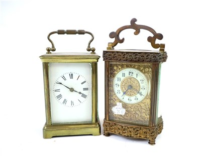 Lot 709-Two Edwardian carriage clocks