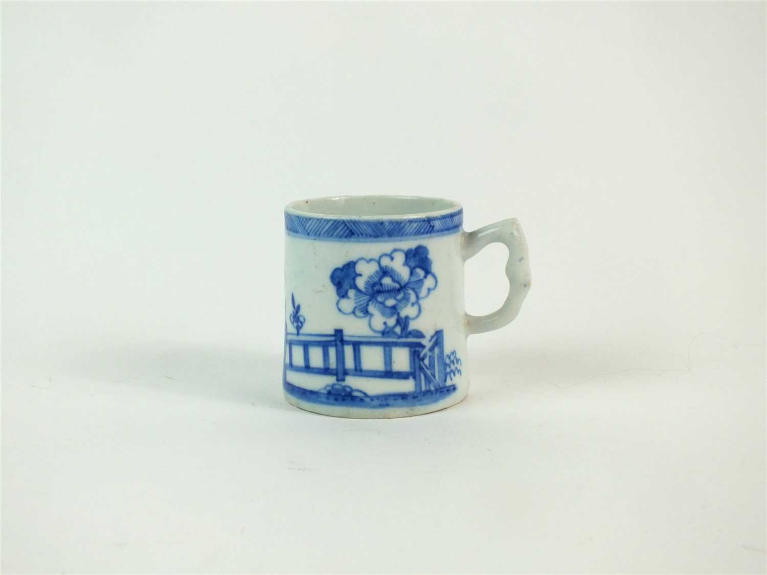 Lot 36-A Bow porcelain blue and white coffee can