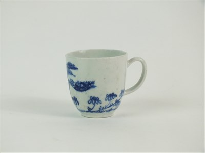 Lot 40-A Bow porcelain blue and white coffee cup
