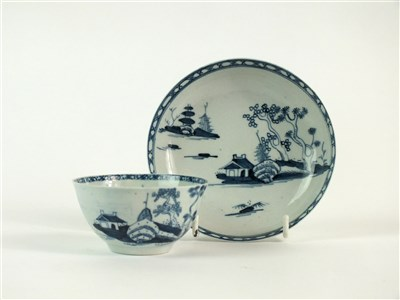Lot 41 - A Richard Chaffers, Liverpool 'Cannonball' tea bowl and saucer
