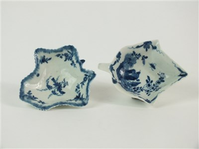 Lot 46-Two 18th century Worcester pickle dishes