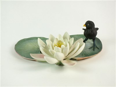 Lot 66 - A Royal Worcester model of a Moorhen Chick and a Water Lily