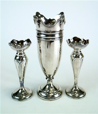 Lot 118-A silver mounted faceted vase and a pair of silver posy vases