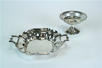 Lot 124-A two handled shallow silver bowl and a pedestal bowl