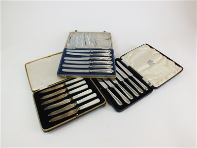 Lot 126-Three cased sets of knives