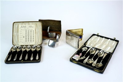 Lot 127-Two cased sets of spoons, a cigar box, a cigarette case and vesta cases