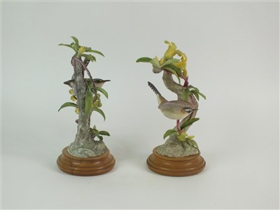Lot 68 - A pair of Royal Worcester models of Bewick Wrens