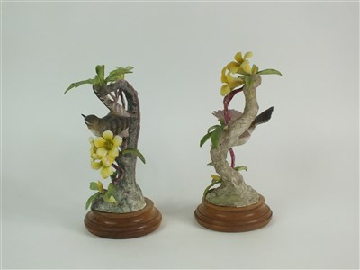 Lot 68-A pair of Royal Worcester models of Bewick Wrens