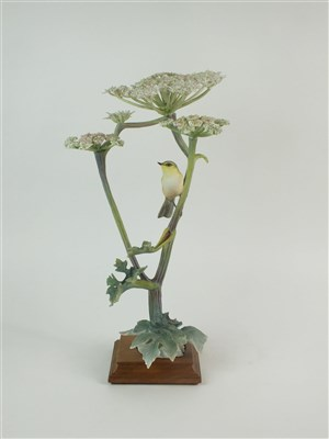 Lot 69-A Royal Worcester model of a Chiff Chaff on Hogweed